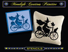 Halloween Stencil~BIKING TO OZ~Enchanting Magical Witch Cat Crow and Pumpkin
