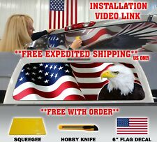 AMERICAN FLAG EAGLE PICK UP TRUCK BACK WINDOW GRAPHIC DECAL VINYL WINDOW TINT