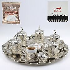 27 ct Ottoman Turkish Greek Arabic Coffee Espresso Cups Saucers Set SILVER
