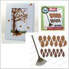 Oak Leaves and Rake - Impression Obsession cutting dies DIE201-K autumn leaf