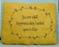 Tea dyed pillow with saying about Wishing upon a star - New by Honey & Me #E6357