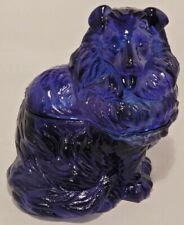 Vintage Cobalt Blue Glass Collie Dog Covered Candy Nut Dish