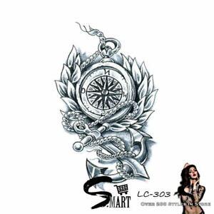 Compass Sword Anchor Back Temporary Tattoo Sticker Black & White LC303