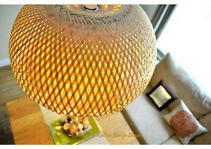 Handmade Rattan Pendant Ceiling Lampshade Hemisphere Dome Brown, Defect L001L-D5