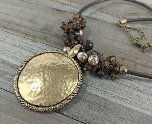 Premier Designs Caramel Latte Gold Tone Medallion Pendant Necklace
