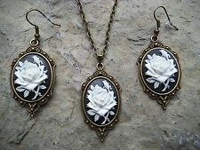 WHITE - BLACK ROSE CAMEO NECKLACE AND EARRINGS SET- GIFTS-- BRONZE - WEDDING!!
