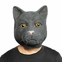 Realistic Black Cat Mask Halloween Costume Party Novelty Animal Head Latex Mask