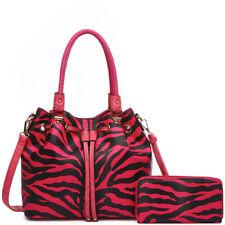 Zebra Stripe Pattern Purse Women Handbag Fashion Single Shoulder Bag Wallet Set