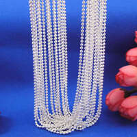 "Wholesale 10pcs 925 Sterling Silver Plt 1.5mm Ball Beads Chain Necklace 16""-30"""