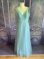 NWT Sorella Vita Style 8702 Evening Mist Long Tulle Gown Dress SZ 16 Blue $240