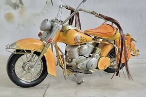 Hand Made Orange Color Rare Collectible Harley Davidson Indian Motorcycle Gift