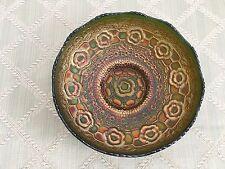 Old Carnival Glass Bowl ( Antique Fenton 1911 Captive Rose Green Floral Gold )
