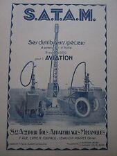 1926 PUB SATAM DISTRIBUTEUR HUILE ESSENCE AVIATION CHARIOT CITERNE ORIGINAL AD