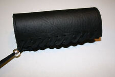 Black Padded Leather Motorcycle Grip Covers Vibration Dampening