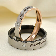 Stunning Unisex Titanium Steel Couple Wedding Lovers Engagement Promise Ring 1PC