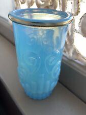 Vintage Avon Power Blue Gold Trimmed Candle Holder