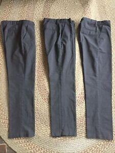 Boys Slim Fit Flat Front School Uniform Grey Trousers Size 12-13 Bundle X3 M&S