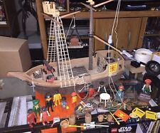 Rare 1974-1980 Playmobil Pirate Ship Huge Parts Lot 3550 Weapons Boat Figures