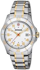 WENGER SWISS ARMY WHITE DIAL DATE TWO-TONE STAINLESS STEEL MEN'S WATCH 70477 NEW