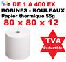 Rouleaux bobines papier thermique 80 x 80 x 12 pour caisse imprimante thermique