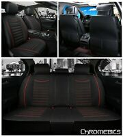 Deluxe Black Red Soft Fabric Full Set Seat Covers For Audi A3 A4 A6 A8 Q3 Q7 Q5