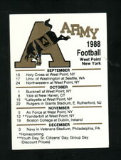 Army Cadets--1988 Football Pocket Schedule