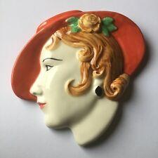 Placa De Pared Art Decó anegadizos cerámica señoras perfil