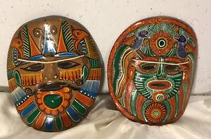 Tribal Clay Mask Set Wall Decor Bright Colors Floral, Birds, Aztec Wall Decor