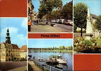 Pirna Elbe Sachsen DDR Mehrbild-AK ua. Dampfer Anlegestelle, Post-Säule uvm.