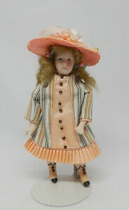 Vintage Porcelain Victorian Girl Doll Peach Silk Dress Dollhouse Miniature 1:12
