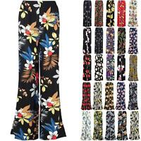 Womens Floral Print Palazzo Trousers Ladies Wide Leg Flared Fit Pants Leggings