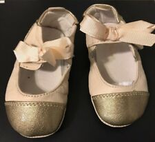 Cole Haan Baby Shoes Size 3 Girl Dressy Formal Gold Cream Mini Cap Bow Slip On