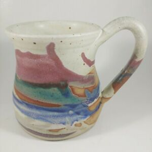 Handmade SWICK POTTERY Colorful Striped Coffee Mug Cup Large 14oz Klickitat WA