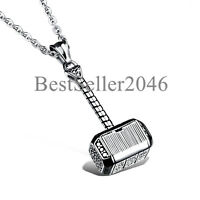Men Hammer of Thor Necklace Stainless Steel Thors Hammer Pendant Necklace 22""