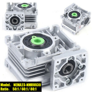 NEMA23 Worm Gearbox Worm Gear Reducer Speed Ratio 50 60 80:1 for Stepper Motor