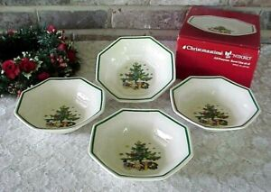 NIKKO Christmastime Bowls (4) Soup Cereal Octagonal Shape Christmas Tree BOX