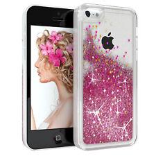 Für Apple iPhone 5C Glitzer Hülle Flüssig Silikon Case Handy Cover Tasche Pink