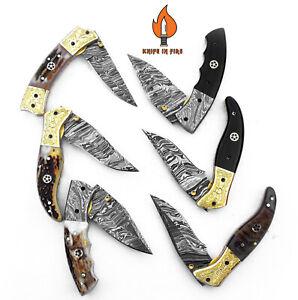 LOT OF 6 CUSTOM HANDMADE DAMASCUS STEEL FOLDING KNIFE LINEAR LOCK STAG/ANTLER.