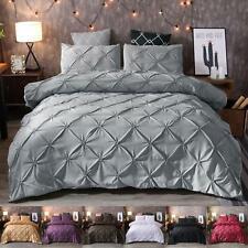 Diamond Pintuck Duvet/Doona/Quilt Cover Set Single Queen King Size Bed Supersoft