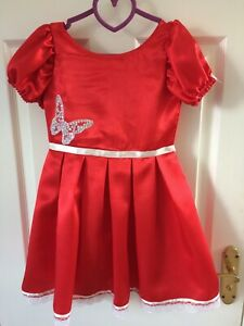Handmade Girls Satin Red Dress Age 4-5 years White sequin Butterfly motif