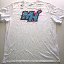 The Nike Tee NBA Basketball Women's Miami Heat Center Logo Tee Shirt White Teal