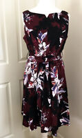 Per Una M&S Dress Fit & Flare Belt Size UK 18 Burgundy floral print 50's Retro