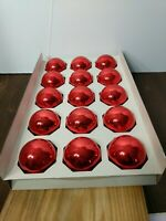 Vintage Pyramid Box Of 15 Red Glass Ball Ornaments