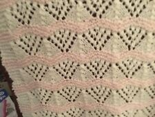 NEW HAND KNITTED BABY BLANKET WHITE/PINK