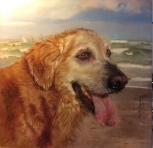 Pet portrait hand painted by award winning artist