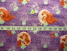 Disney My Little Mermaid Brushed Back SATIN Fabric Lavender 1/2 YARD