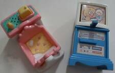 Vintage Fisher Price Dollhouse Family TV Television & Baby Cradle Bed Set