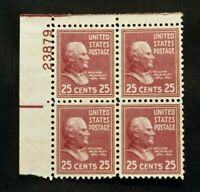 US Stamps Plate Blocks #829 ~1938 Presidential Series WILLIAM McKINLEY 25c MNH