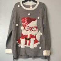 Holiday Time Ugly Christmas Sweater Gray Kitty Cat Santa Claus Sequin