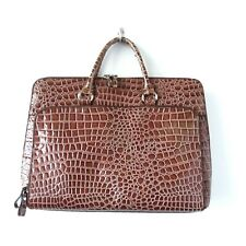 Bueno Brown Croc Embossed Faux Leather Laptop Crossbody Bag